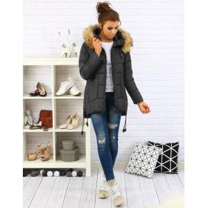 Dámska zimná bunda v tmavo sivej farbe