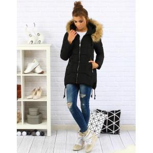 Čierna dámska zimná bunda s kožušinou