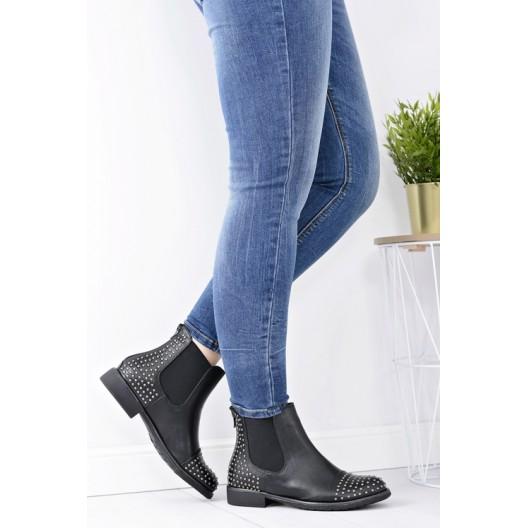 Elegantná dámska členková obuv čiernej farby