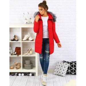Červené zateplené dámske zimné bundy
