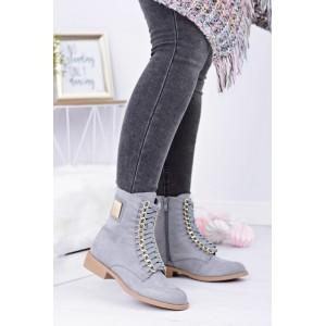 Členkové dámske prechodné topánky v sivej farbe