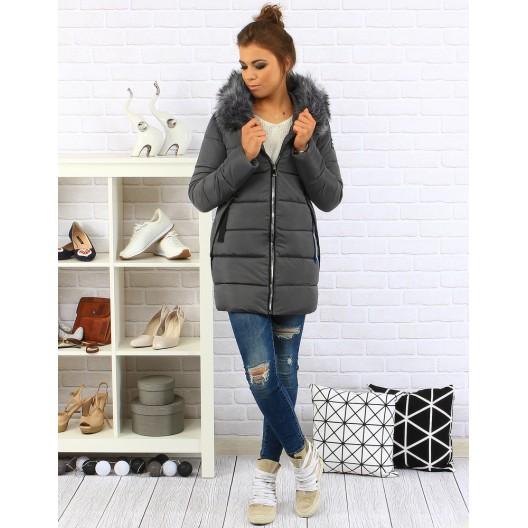Antracitová dámska zimná bunda s kožušinou