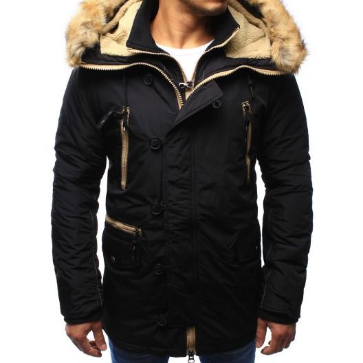 Čierna pánska zimná bunda s kožušinou