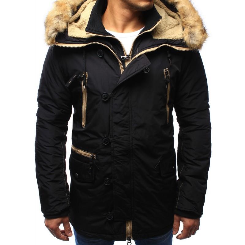 84aaa870d23e Čierna pánska zimná bunda s kožušinou - fashionday.eu