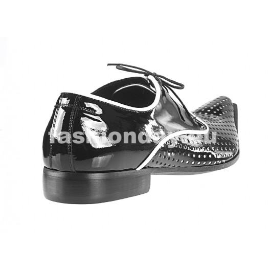Pánske kožené extravagantné topánky čierne  PT069