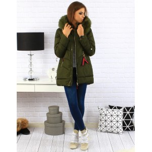 Zelená zateplená dámska zimná bunda