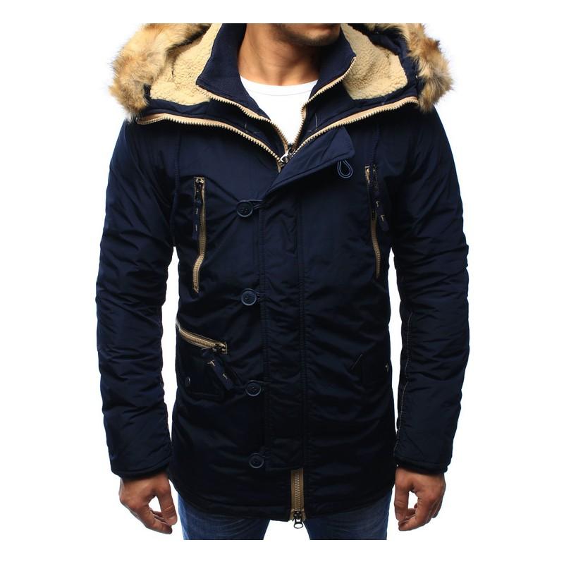 Pánske zateplené bundy modrej farby - fashionday.eu ea1f5bb737f