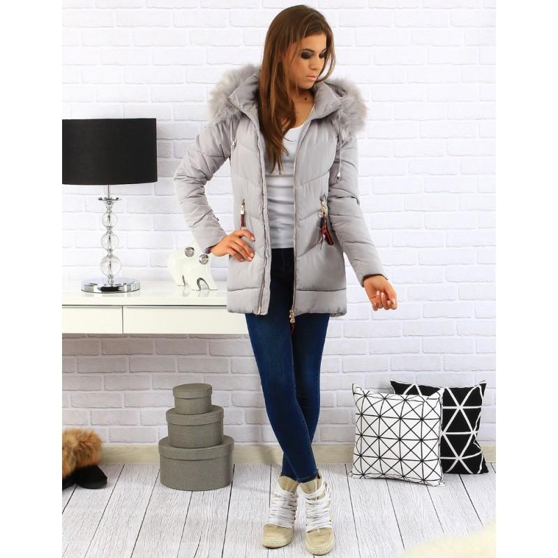 Dámske zimné bundy sivej farby - fashionday.eu 034ed7dee57