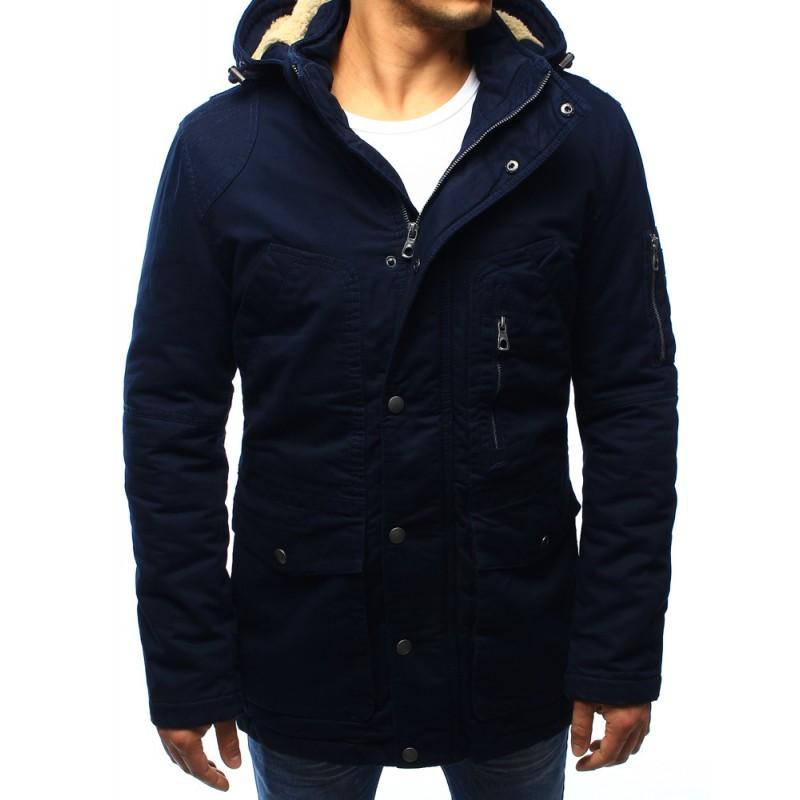 Tmavo modrá pánska zateplená bunda - fashionday.eu e9a0b2e06a8