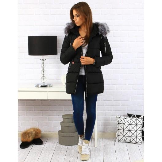 Moderná dámska zimná bunda čiernej farby