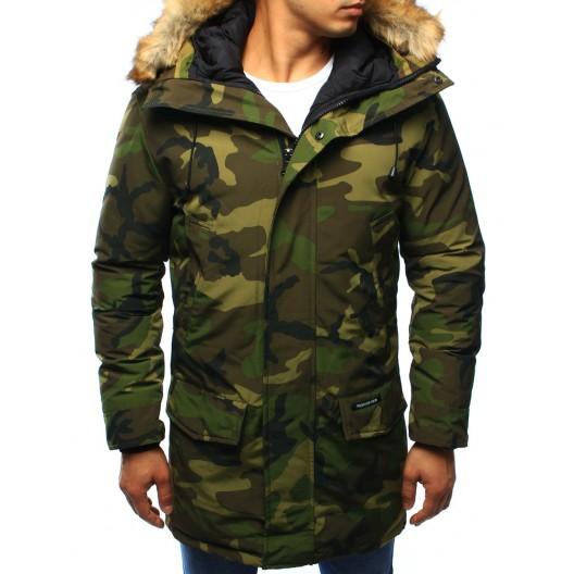 Pánska maskáčová zimná bunda s kapucňou