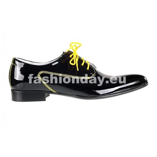 Pánske kožené extravagantné topánky čierne PT070