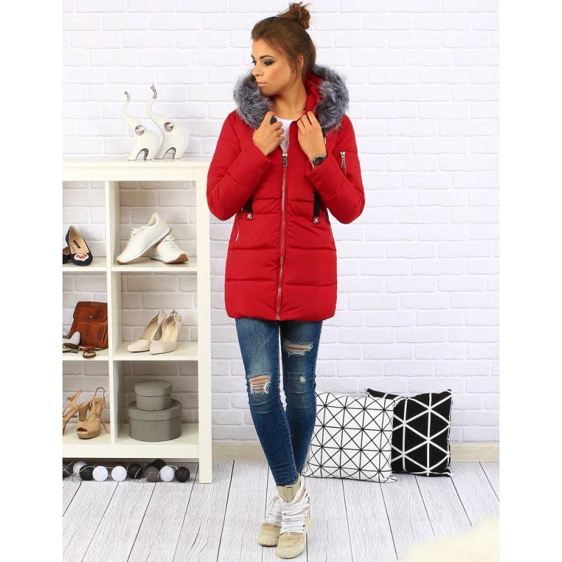 Červené dámske bundy na zimu - fashionday.eu 8b728a85a1e