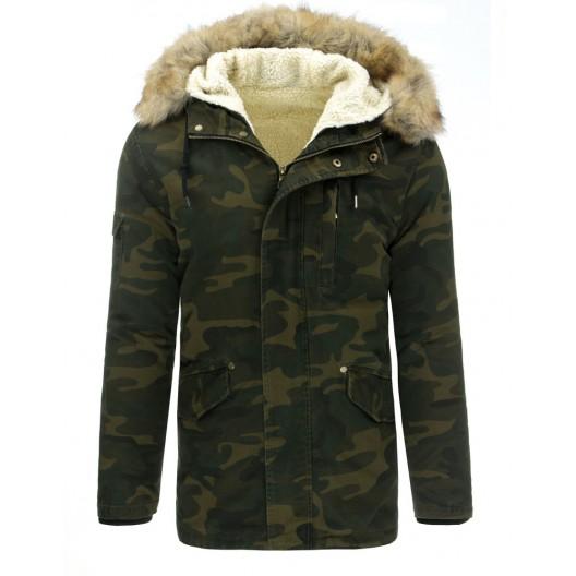 Pánska zimná bunda s army vzorom