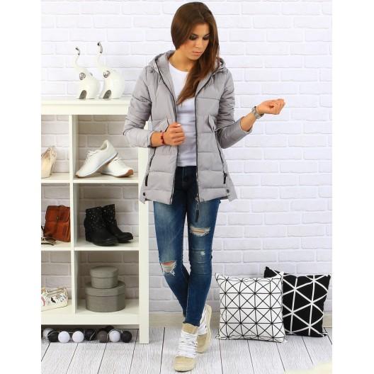 Sivá dámska bunda s kapucňou