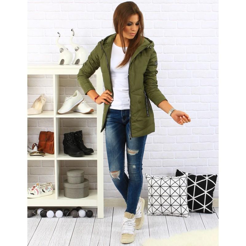 Dlhá dámska prechodná bunda zelenej farby - fashionday.eu ebfa2ffd042