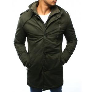 Zelená pánska zateplená bunda bez kapucne