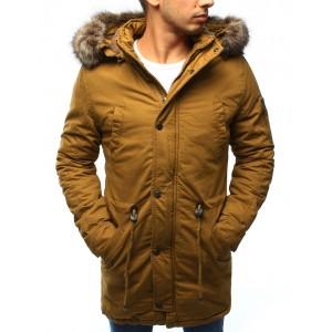 Žltá pánska zimná bunda s kapucňou