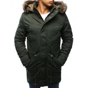 Tmavo zelená pánska zimná bunda s kožušinou