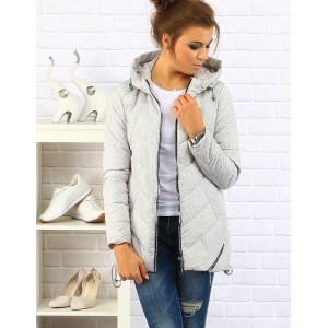 Sivá dámska zimná bunda s kapucňou