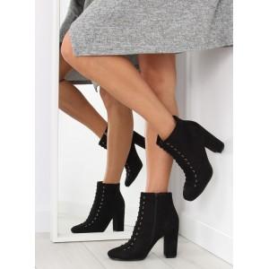 Dámske kotníkové topánky na šnúrovanie čiernej farby