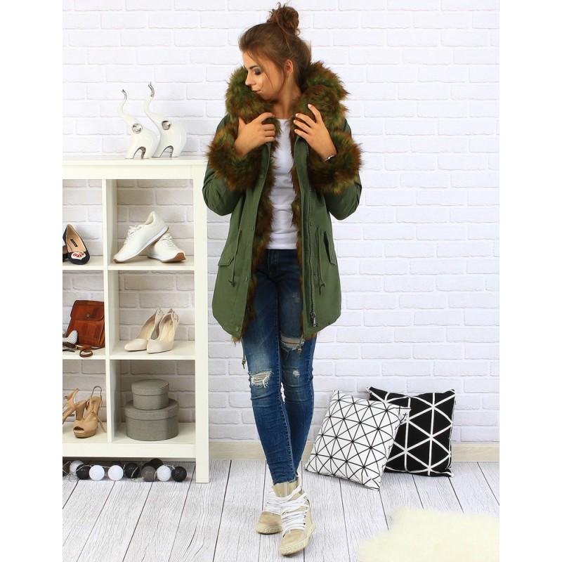 Zelená dámska zimná bunda s kožušinou - fashionday.eu 2671ef5b3dc