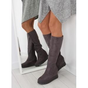 Sivé dámske zimné čižmy