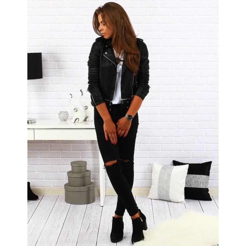882abe764dd6 Čierna dámska kožená bunda na jeseň - fashionday.eu