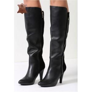 Čierne dámske kožené čižmy na podpätku