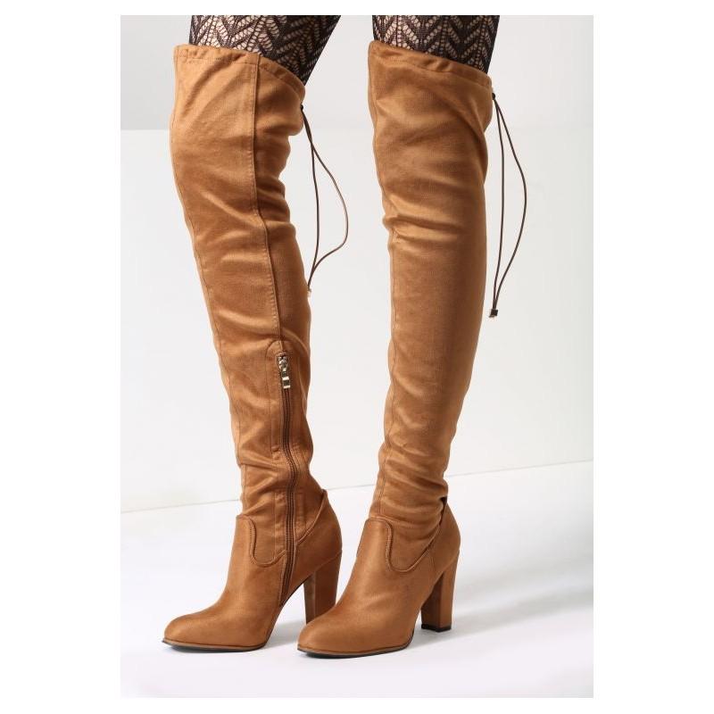 e88d0a040f Hnedé dámske čižmy nad kolená - fashionday.eu