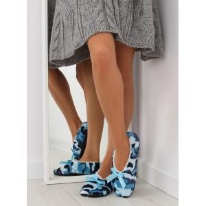 Teplé dámske papuče v modrej farbe