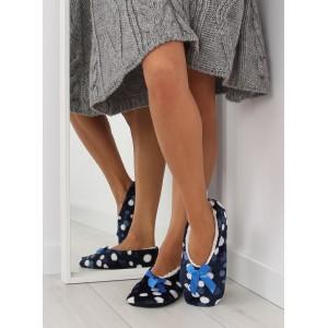 Modré dámske papučky s mašličkou