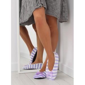 Dámske pruhované papuče fialovej farby