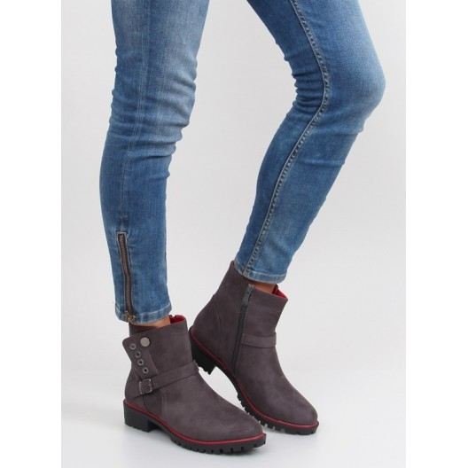 Sivá dámska zimná obuv na zips