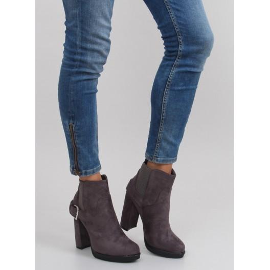 Sivé dámske členkové topánky s prackou