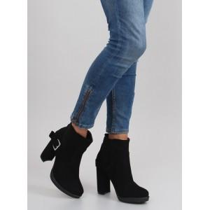Čierna dámska členková obuv s prackou
