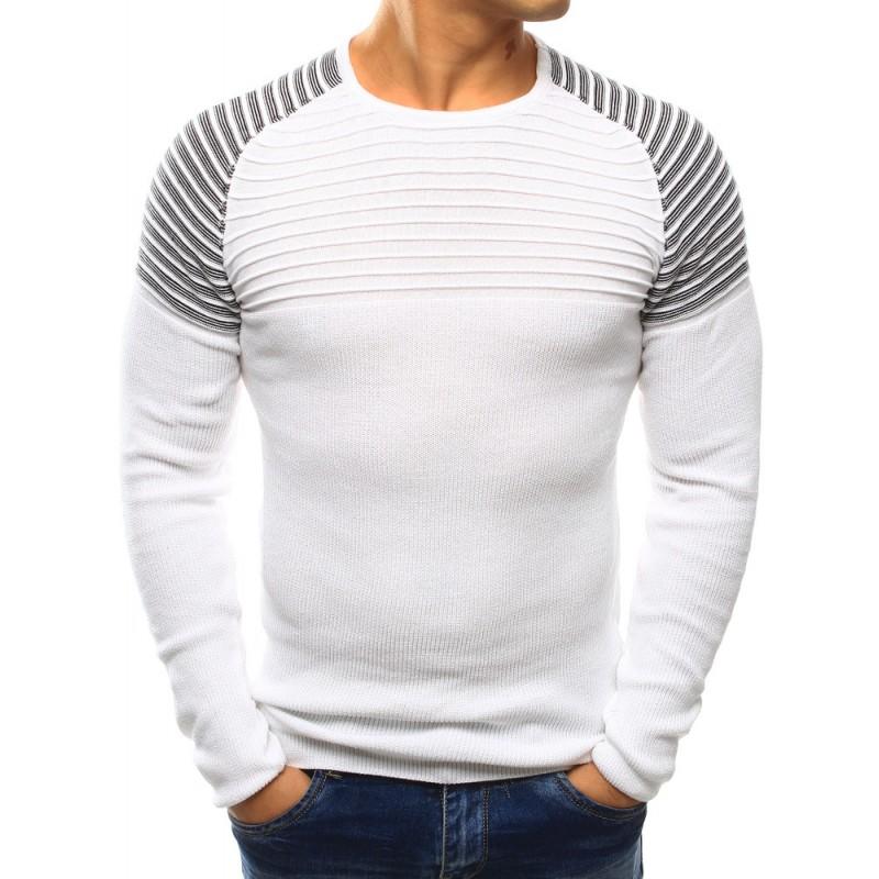 c73af3c7a774 Biely prešívaný pánsky sveter - fashionday.eu