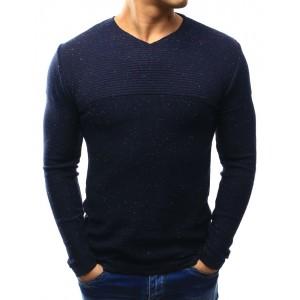 Pánsky sveter s véčkovým výstrihom modrej farby