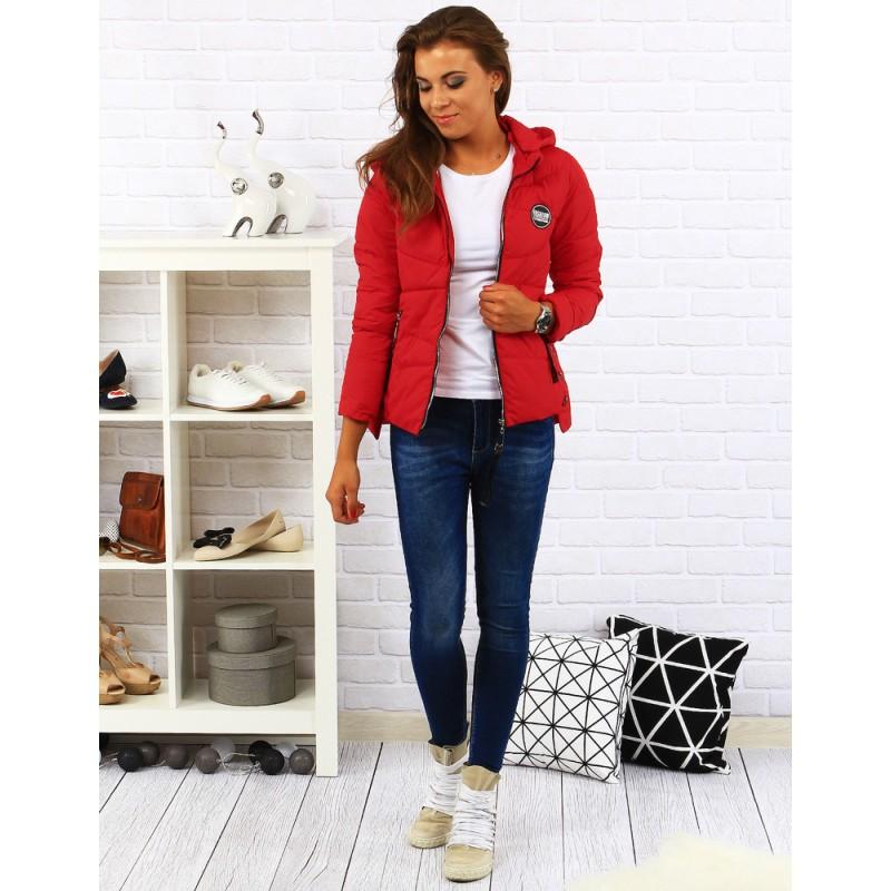 2e3e6fbb2feb Červená dámska prechodná bunda s kapucňou - fashionday.eu