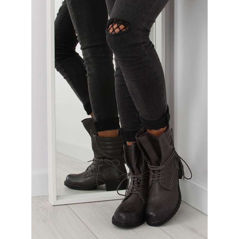 Zimné dámske členkové čižmy sivej farby - fashionday.eu 8eab29a7b91