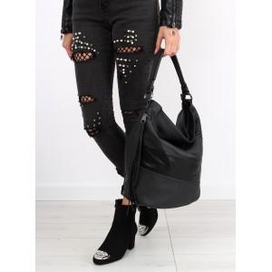 Čierna kabelka cez rameno so strapcom