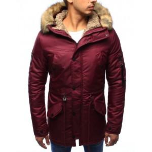 Pánske zimné bundy s kožušinou bordovej farby