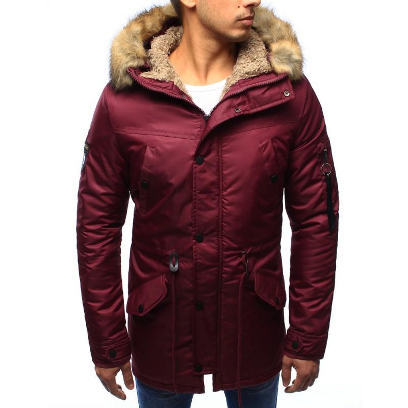 Pánske zimné bundy s kožušinou bordovej farby - fashionday.eu 1b7e92f4982