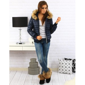 Tmavo modrá dámska zimná bunda s kapucňou