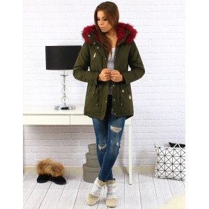 Khaki dámska zimná bunda s kožušinou