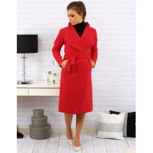 Dlhý dámsky kabát červenej farby