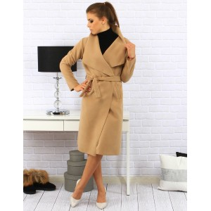 Dlhé dámské kabáty béžovej farby