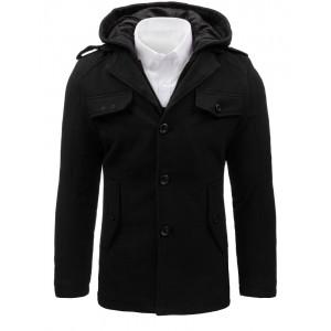 Čierny pánsky kabát s kapucňou