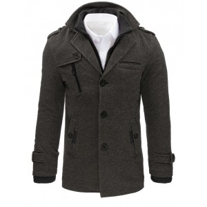 Sivé pánske kabáty bez kapucne