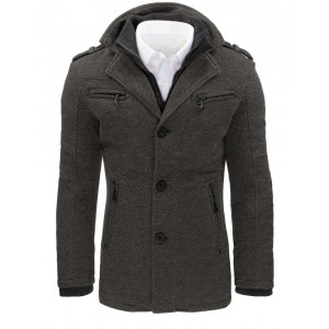 Sivé pánske zimné kabáty s vreckami
